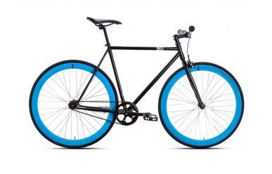 6KU Shelby 4 58cm Singlespeed Fahrrad schwarz mit blauen Laufrädern