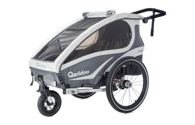 Qeridoo KidGoo 1 Sport Kinderfahrradanhänger inkl. Scheibenbremse und Joggerrad Anthrazit