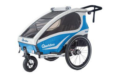 Qeridoo KidGoo 1 Sport Kinderfahrradanhänger inkl. Scheibenbremse und Joggerrad Aquamarin