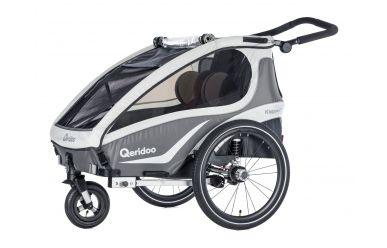 Qeridoo KidGoo 2 Sport Kinderfahrradanhänger inkl. Scheibenbremse und Joggerrad Anthrazit
