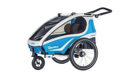 Qeridoo KidGoo 2 Sport Kinderfahrradanhänger inkl. Scheibenbremse und Joggerrad Aquamarin