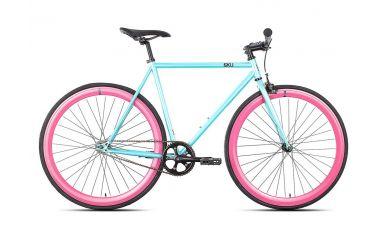 6KU Akoya 2 52cm Singlespeed Fahrrad blau mit pinken Laufrädern