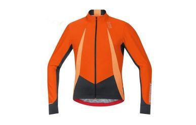 Gore Windstopper Soft Shell langarmTrikot, perfekt für die kühle Übergangszeit, Orange Black