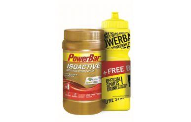 PowerBar Bottle Onpack bestehend aus 600g Red Fruit Punch Isoactive und 750ml Flasche