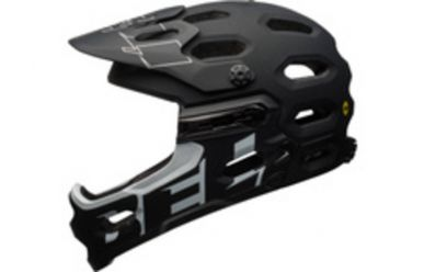 Bell Super 3R Mips Fullface Fahrradhelm, abnehmbarer Kinnbügel, MIPS Sicherheitssystem Matt Black/White