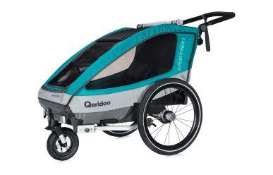 Qeridoo Sportrex 1 Kinderfahrradanhänger inkl. Joggerrad Aquamarin