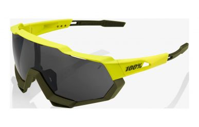 100% Speedtrap Brille, Soft Tact Banana, Black Mirror Lense