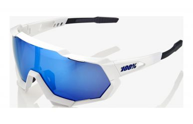 100% Speedtrap Brille, Matte White, HIPER Blue Multilayer Mirror Lense