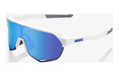 100% S2 Brille, Matte White, HIPER Blue Multilayer Mirror Lense