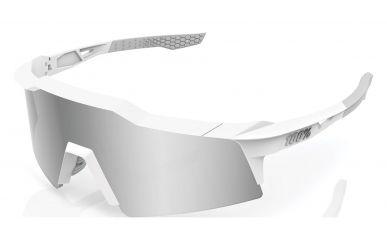 100% Speedcraft XS Brille, Matte White, HIPER Silver Multilayer Mirror Lense