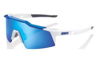 100% Speedcraft SL Brille, Matte White Metallic Blue, HIPER Blue Multilayer Mirror