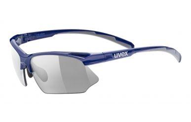 Uvex sportstyle 802 vario Brille, Gestell blue white, Gläser supravision, variomatic smoke