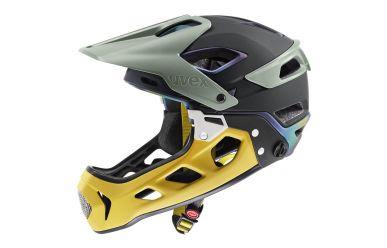 Uvex Jakkyl Hide 2.0 Fullface Helm mit abnehmbaren Kinnbügel, Forest Mustard Matt