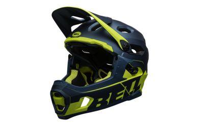 Bell Super DH Mips Fullface Helm Matte Gloss Blue Hi Viz