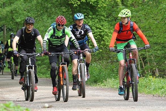Biker mit MTBs im Park unterwegs